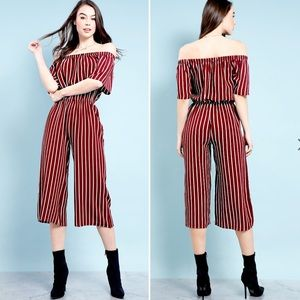 Ambiance Striped Off-the-Shoulder Jumpsuit